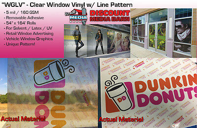 "See-Through Window Graphic Vinyl - Line Pattern - 54""x164' Inkjet Media- ""WGLV"""