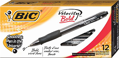 Velocity Bold Retractable Ball Pen Bold Point 1.6mm Black 12-Count Easy Glide