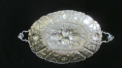 Antique REPOUSSE Hand Wrought 800 Fine German SILVER Fruit Bowl Very Sweet