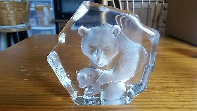 "Large Mats Jonasson Crystal ""brown Bear And Cub"" Paperweight"