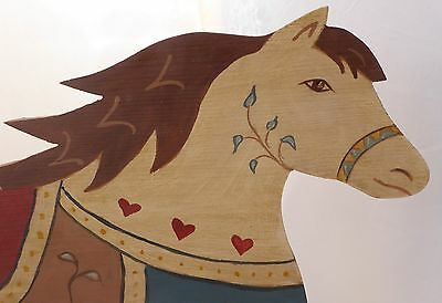 """Vtg. 1984 Patterson""""s Hand Carved Wood Horse Patchwork Wall Hanging 23"""" long"""