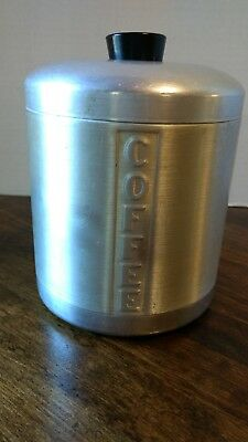 """Vintage Aluminum Coffee Canister Unmarked 7 1/4"""" Tall"""