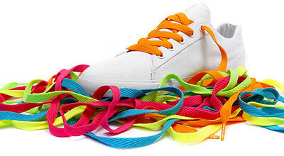 Flat Colored Shoe Laces Neon Glitter Rainbow Shoelaces Boots Trainer Canvas Shoe