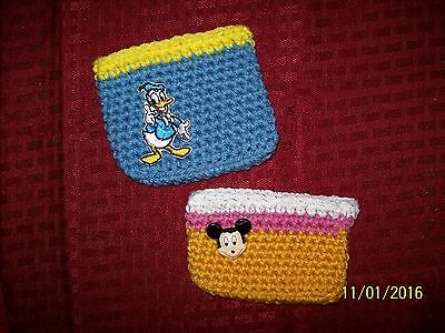 handmade crochet change purses ( set of 2) Donald Duck and Mickey Mouse