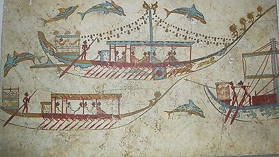 Greek Terra Cotta Reproduction Of Naval Expedition Thera Circa 1600 B.c