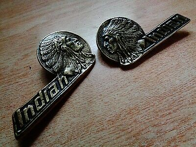 Vintage Indian Motorcycle Tank Emblem Set Chief Scout Factory Saddle Tool Bag