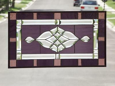 "• PURPLE HAZE •Beveled Stained Glass Window Panel • 28 3/8""x15 3/8"" (72x39cm)"