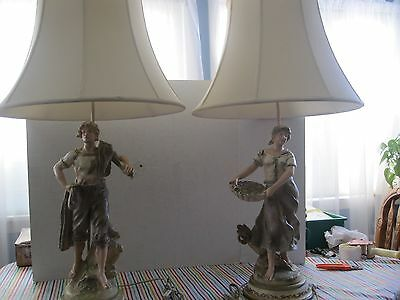 pair of antique table lamps with shades