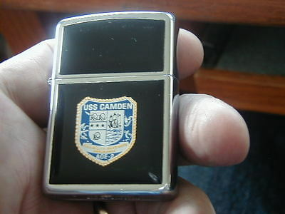 1989 Uss Camden Aoe-E  Zippo Lighter Flexibility Readiness Endurance Nice-Works