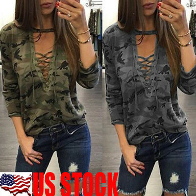 Women Loose V Neck T Shirt Long Sleeve Cotton Tops Shirt Blouse Camouflage Print