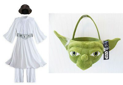 NEW Disney Store PRINCESS LEIA Child Costume YODA Treat Bag Girls Wig Star Wars