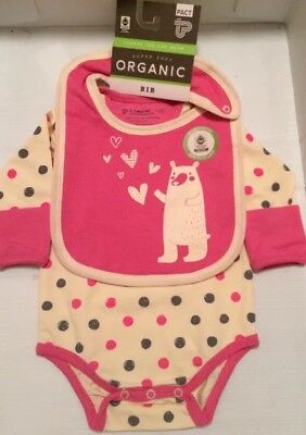 PACT Organic Cotton Infant GIRL long sleeve bodysuit  Size 0-3 mo with bib