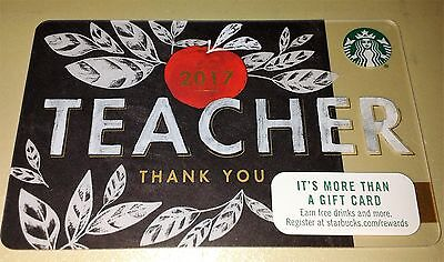 New $0 COLLECTIBLE STARBUCKS 2017 red apple Teacher Thank you GIFT CARD