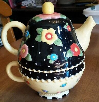 Mary Engelbreit Tea For One Teapot With Cup 2001 ME Ink Michel & Co