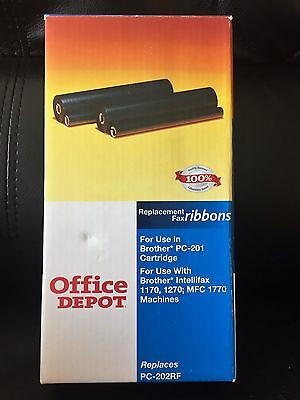 Office Depot 775-191, 2 Replacement Fax Ribbons Brother PC-201 PC-202RF 1770 NEW