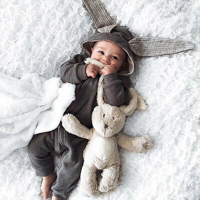 Newborn Baby Girl Boys Cute Romper Hoodie Jumpsuit Bodysuit Outfits Clothes 0-3T