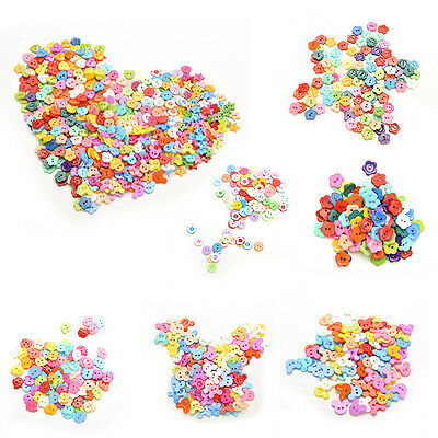 100 Pcs Mixed Color Buttons 2 Holes Children's DIY Crafts 10mm 6 Shapes New UK