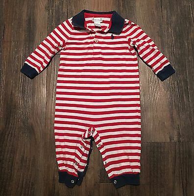 Ralph Lauren RL Red/White Striped Longall One Piece Romper • Infant Boys Size 9M