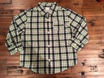 Gymboree Boys Green Black Plaid Button Down Dress Shirt Nwt Easter Holiday 2t