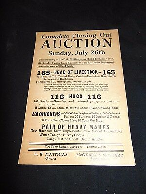 Vintage 1936 Livestock Auction In Rio Linda (Sacramento) Ca Flyer, Poster