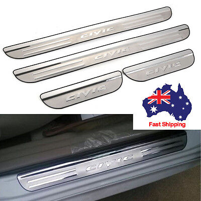 4pcs Door Sills Panel Scuff Kick Plate Step Trim Protector For Honda Civic 07-16