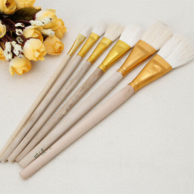 6Pc Wooden Oil Painting Brushes Artist Acrylic Panit Art Supply Set Limner Tools