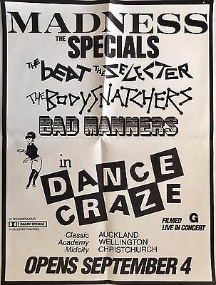 Dance Craze - Madness, The Specials, Bad Manners, Ska 1981 New Zealand Poster