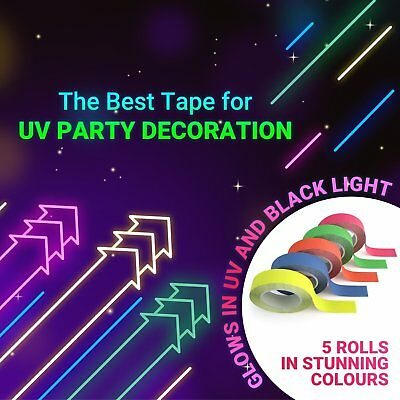 "5 Pack Neon Blacklight Tape - Best Glow in the Dark Party Supplies - 1/2"" X 25'"