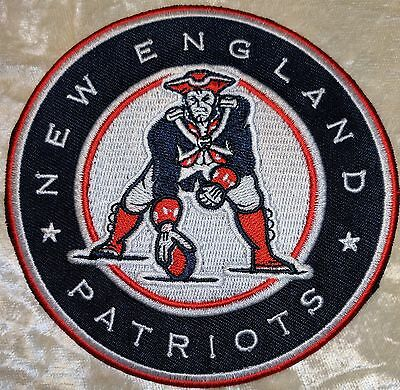 "New England Patriots  4"" Circle Iron On Embroidered Patch~FREE Ship"