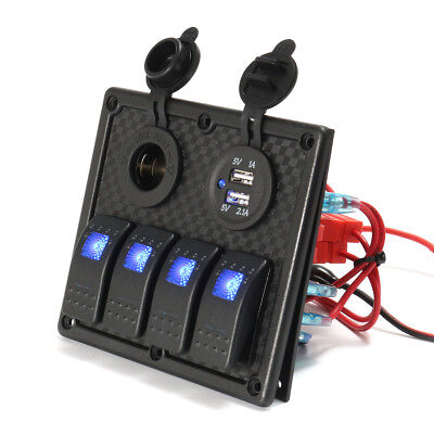12V 24V 4 Gang LED Rocker Switch Panel USB Car Charger Marine Boat Caravan Blue