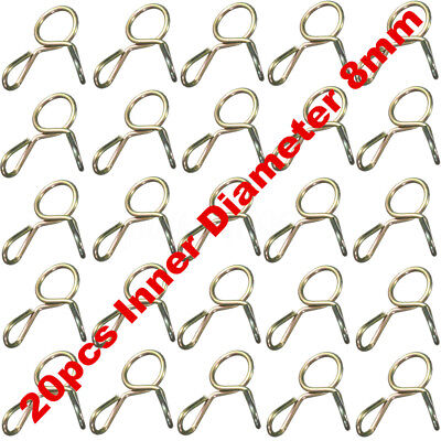 20x 8mm Gas Fuel Line Hose Water Pipe Tubing Clamps Spring Clip Motorcycle ATV