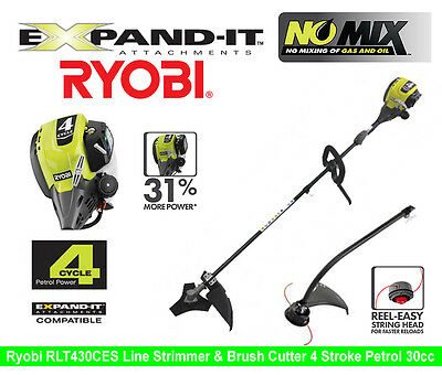 RYOBI Petrol Brush Cutter & Line Strimmer RBC430ES 4 Stroke 30cc 1hp Easy Start