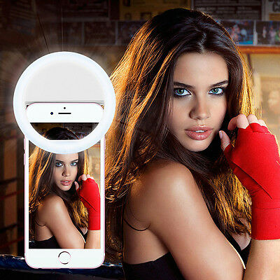 Free Ship Selfie LED Ring Flash Luminous Fill Light Clip For iPhone Andriod