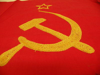 1950's Soviet Russian Big Flag with Embroidery & Tag. Made in USSR. Unused.