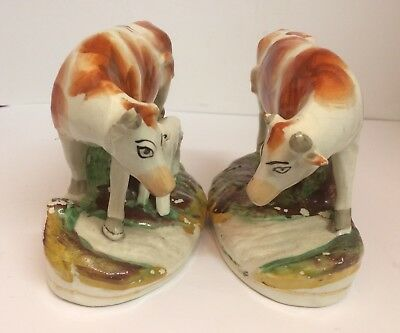 Two  Antique Staffordshire figures  Cow and Calf figure And Cow On It's Own