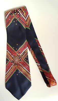 Vintage Wild Print~Silk~Mens Neck Tie~Wide Size Black Vivid Retro~Free Post AU