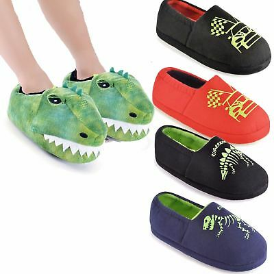 Boys Childrens Novelty,3D Dinosaur,Glow In The Dark Cars Slippers Sizes 9-3