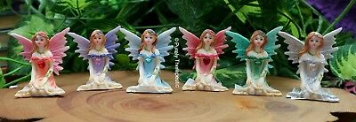 SITTING FAIRY WITH LOVE HEART ORNAMENT FIGURINE~5cm High Statue Fantasy Garden