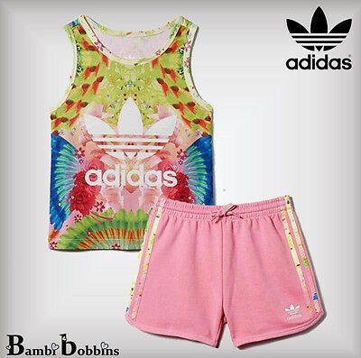 Adidas Feather Summer Baby Girl Outfit Set Tank Shorts 0-3-6-9-12-18-24 Months