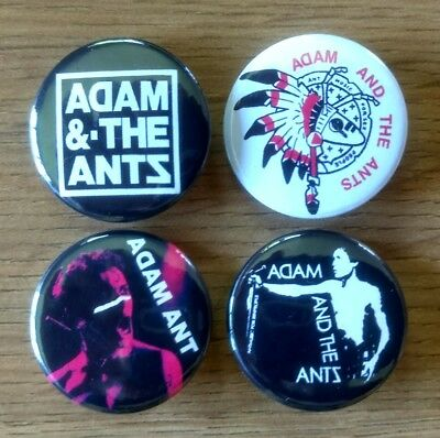 Adam and the Ants 25mm button badges set of 4 kings cartrouble antmusic invasion