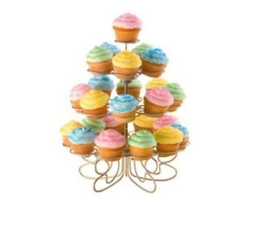 Wedding & Event Decoration - Cake Stand Metal 4 Tier Silver Metal Cup Cake Stand