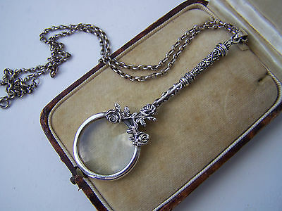 Sterling Silver Rose Floral Magnifying Magnifier Glass Chatelaine Pendant Rare