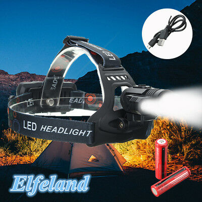 Elfeland 40000Lm 3xT6 LED Zoomable Lampe Phare Frontale USB Rechargeable Torche
