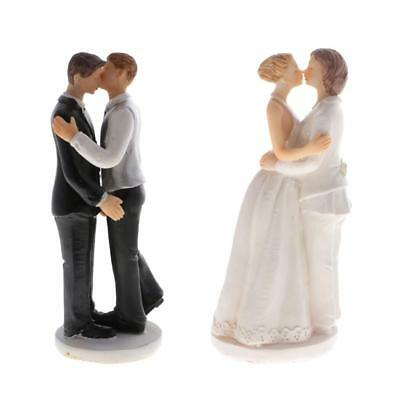 2pcs Wedding Gay Lesbian Couple Cake Topper Kissing Figurine Homosexual Gift