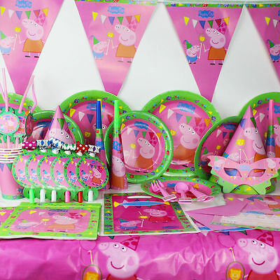 90pcs/set New Luxury Kids Peppa Pig Theme Birthday Party Supplies Tableware Set