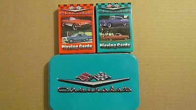 Collectable Limited Ed Chevrolet Tin with Two Sets of Unopened Playing Cards