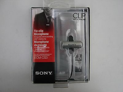 "Sony ECM-CS3 Electret Condenser Stereo Tie-Clip Microphone ""New in a Box"""