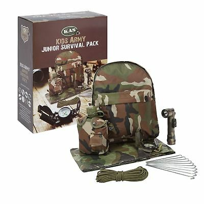 Kids Army Junior Survival Pack Rucksack Tarp Camouflage Military Roleplay
