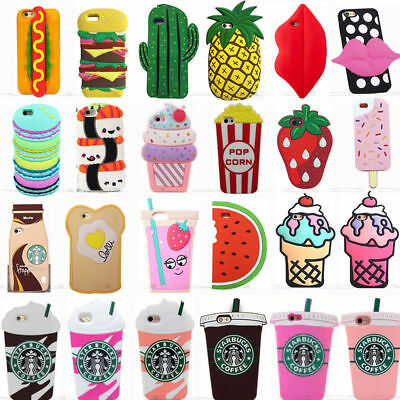 new product 029cc 436c1 ICE CREAM DESSERT Novelty 3D Silicone Case Cover For iPhone 5 6 7 8 ...