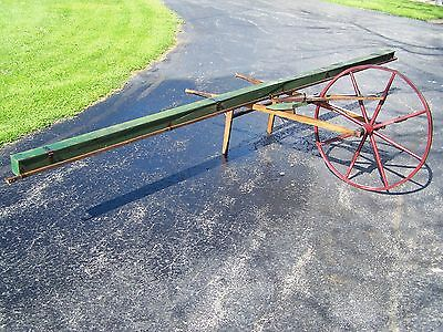 Old THOMPSON Wheelbarrow Grass Seeder Antique Farm Implement 1890s Grain Planter